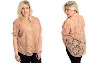 LAMJYA Women's Sheer-Lace Top Short-Sleeve Solid Beige PLUS SIZE 1X