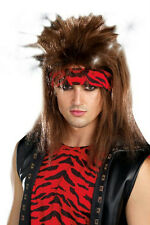 Light-up Brown Mullet Style Unisex Rocker Adult Costume Wig