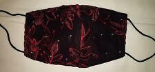 Fancy Face Mask Black Red Lace Rhinestones Cotton Comfortable Bling Handmade