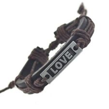 Genuine Leather LOVE Adjustable Bracelet Dark Brown