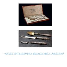 Luigi Poppi Ferrara Italy Italian silver 800 set knife spoon and fork in box