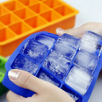 Big Ice Cube Maker Mold 15 Cavity Square Silicone Frozen Tray Bacs à glaçons Bar