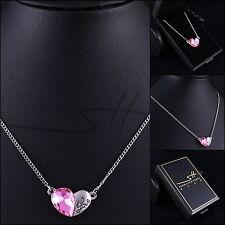 Hübsche Kette Halskette *Rosa Herz - LOVE* Weißgold pl, Swarovski Elements +Etui