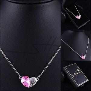 Geschenk Halskette Rosa Herz, Kette Damen Silber, im Etui, Schmuckhandel Haak®