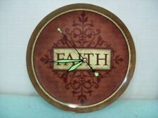 """Ceramic 9.5"""" FAITH Plate Clock, Recycled, Hand Made Wall Clock Glow in the Dark"""