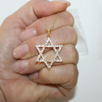 Diamond Alternatives Star of David Pendant Necklace 14k Yellow Gold Over 925 SS