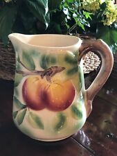 French St. Clement Majolica Pitcher Fruit Peaches & Leaves Pottery France OLD