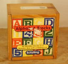 Schylling Alphabet Numbers Wooden Colorful Blocks