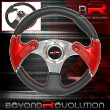 320mm 3 Spokes Dual Nos Button Red Pvc Leather Steering Wheel Godsnow Horn