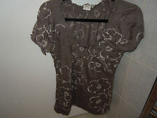 ESPRIT Mushroom and beige Capped Sleeved Top Size M