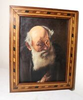 antique original realistic elder man oil painting portrait marquetry framed