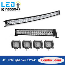 "42Inch LED Light Bar Curved+ 22in Combo +4"" Pods fits Ford Jeep SUV Truck Marine"