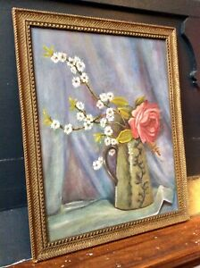 Genuine Early 1900s Oil Painting,Feature Wall,Still Life,Ornate Gilt Frame,Old