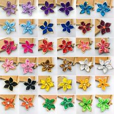 DIY 50/100Pc Satin Ribbon Flower with Crystal Bead Appliques/craft/Wedding Decor