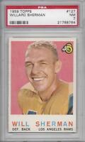 1959 Topps football card #127 Willard Sherman, Los Angeles Rams graded PSA 7 NM