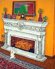 Jack Russell terrier dog fireplace 8x10  artist prints animals gift new