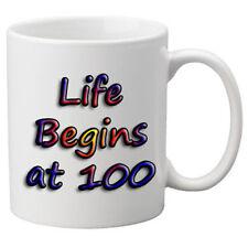 Life Begins At 100 Birthday Celebration Mug. 11oz Mug.