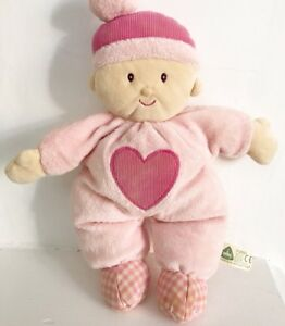 """ELC mothercare rag baby doll pink heart comforter soft toy plush 12"""" hat 2006"""