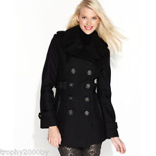 NEW MISS SIXTY BLACK MILITARY FAUX LEATHER TRIM WOOL BLEND PEACOAT COAT SZ M