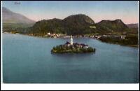 Bled Veldes Slowenien alte Postkarte 1924 gelaufen Bleder See Insel mit Kirche