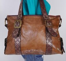 HYPE Large Brown Leather Shoulder Hobo Tote Satchel Purse Bag
