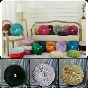 """Modern Crushed Velvet Round Cushion Filled  14"""" x 14"""" Stitched with Diamond"""