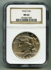 1924 S Peace Silver Dollar NGC MS 62