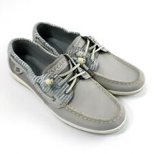 Sperry Top-Sider Womens Songfish Boat Shoe Sz 9M Grey Stripes Leather Slip On
