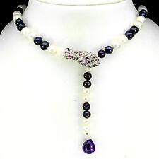 Collier Schlange Perle Turmalin Blautopas Amethyst 925 Silber 585 Weißgold