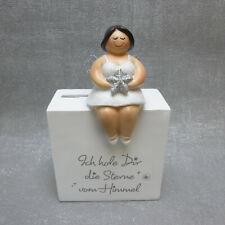 46269 Engel Love Keramik weiß silber matt glasiert Flügel in Herzform 19cm hoch