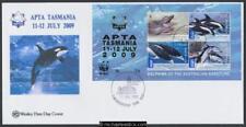 11-Jul-2009 Australia APTA TAS WWF Aus Dolphins Coastline Minisheet Wesley Cover