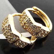 AN940 GENUINE REAL 18K YELLOW G/F GOLD DIAMOND SIMULATED HUGGIE HOOP EARRINGS