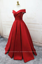 Red V-Neck Satin Prom Dress Bridesmaid Wedding Evening Party Quinceanera Dresses