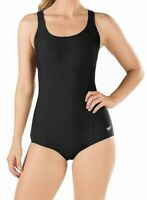 Speedo Womens Swimwear Black 6 Powerflex Conservative Ultraback Swimsuit $68 430
