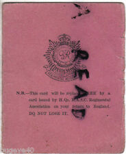 Membership Card RASC Royal Army Service Corps Regimental Association 1943