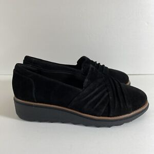 Clarks Collection Sharon Villa Loafer Wedge Shoes Black Suede Women's Size 8 New