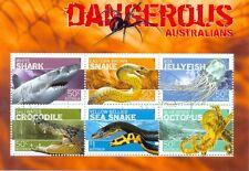Australia-animales peligrosos Min Hoja Cto-F. Usado (2709) serpientes-tiburones-Cocodrilo