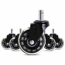 5 PCs Black Office Chair Rubber Caster Wheels 2.5 Inch Swivel Safe for Floor