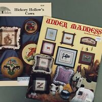 Lot of 2 Cow Cross Stitch Chart Booklet Udder Madness & Hickory Hollow's Cows