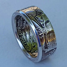 Coin ring Hand Made Walking Liberty 1945 Half Dollar Coin Ring U Pick Size 11
