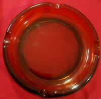 "Vintage HEAVY LARGE 8"" Diameter Amber Cigar Ashtray Glass Four Slots"