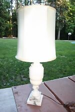 Vintage HAND CARVED ITALIAN ALABASTER MARBLE Table Lamp 12""