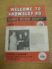 26/12/1978 Rugby League Programme: St Helens v Wigan  (team changes, folded & cr