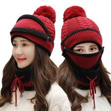 3PCS/Set invierno Mujer cálido De Punto Pompón Beanie Sombrero Gorra Bufanda Máscara Facial nos Nuevo
