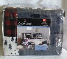 CUDDL DUDS FLANNEL LODGE PATCHWORK 4 PIECE QUEEN SIZE SHEET SET NEW