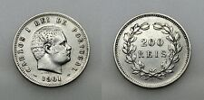 PORTUGAL 1901 CARLOS I REY 200 REIS MONEDA PLATA RARA MBC+