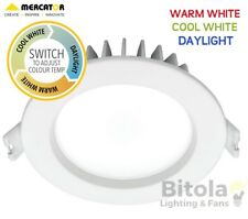 10w LED DOWNLIGHT CCT CHANGING WARM, COOL OR DAYLIGHT MERCATOR OPTICA TRIO WHITE