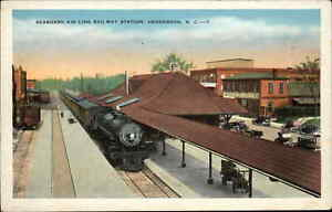 Henderson NC Seaboard Air Line RR Train Station Depot c1920 Postcard
