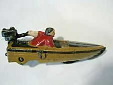 "CAST IRON MOTOR SPEED BOAT w WHEELS DIE CAST TOY 4"" Evinrude Johnson Red"