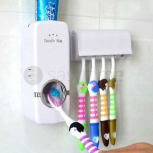 Automatic Toothpaste Dispenser + 5 Toothbrush Holder Stand Wall Mounted Bathroom